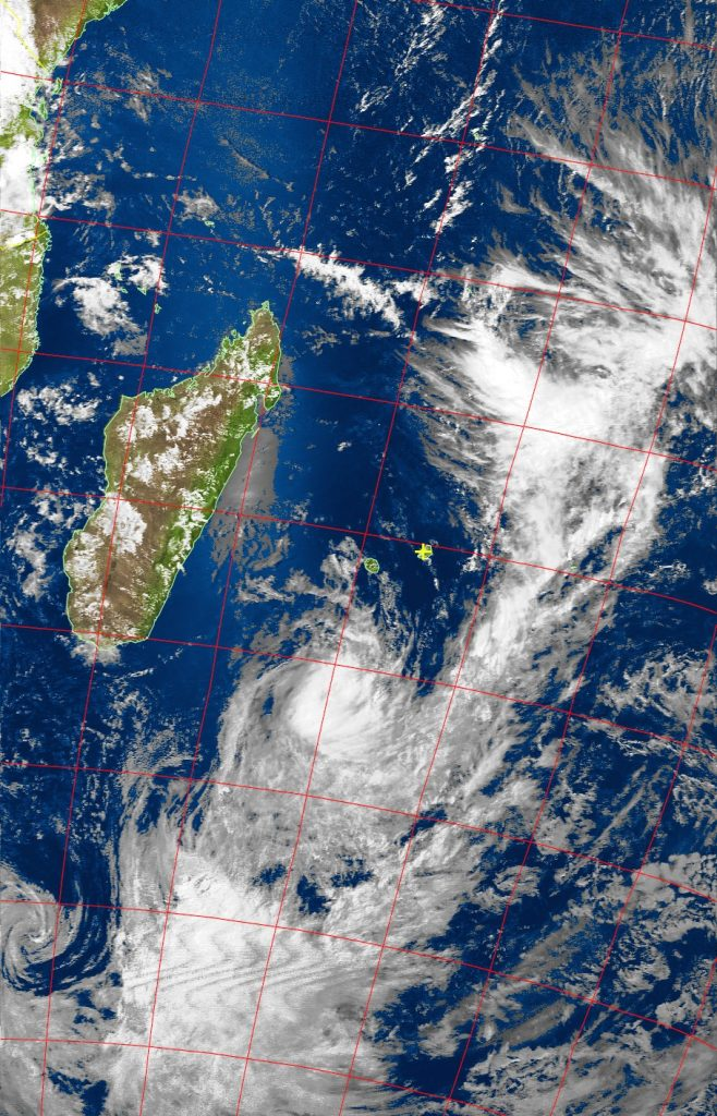 Moderate tropical storm Daya, Noaa 19 VIS 11 Feb 2016 14:57