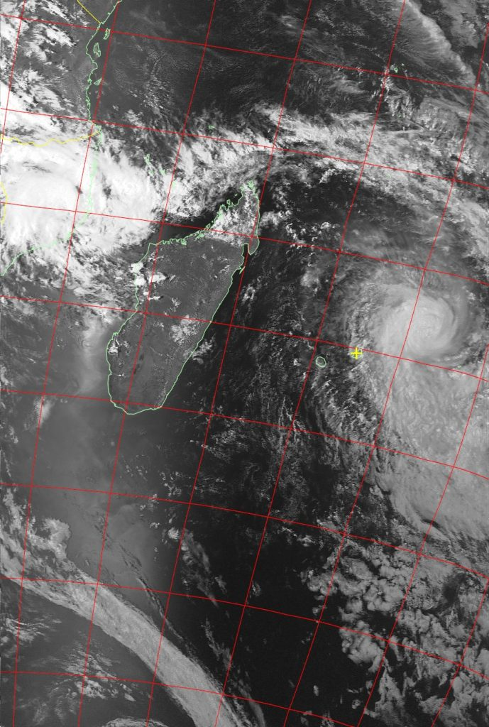 Tropical Cyclone Berguitta, Noaa 19 VIS 16 Jan 2018 16:26
