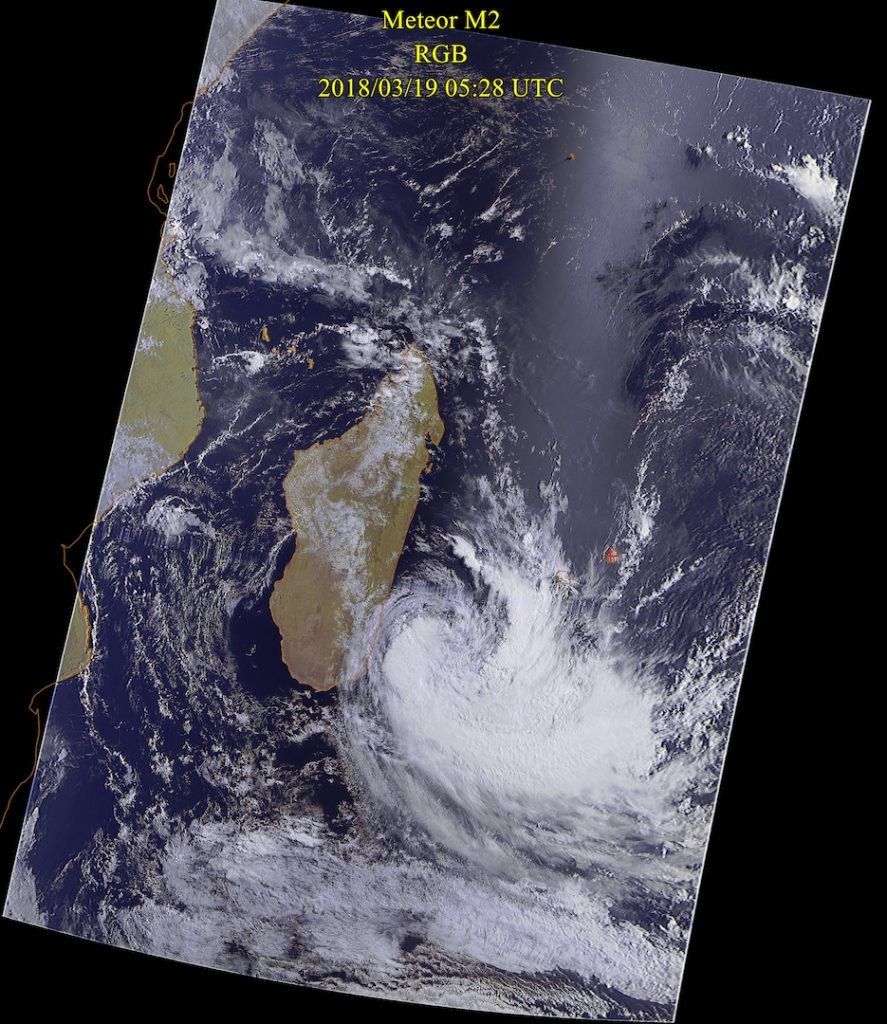 Moderate Tropical Storm, Meteor-M N2 VIS 19 Mar 2018 09:28